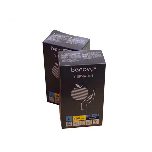 Перчатки нитриловые черные Benovy 1